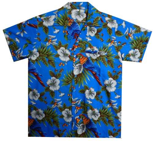 Funky-Camisa-Hawaiana-Parrot-Cherry-azul-M