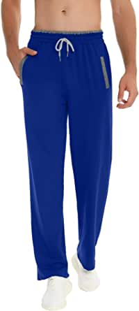 Akalnny Pantaloni da Jogging da Uomo Pantalone Sportivi in Cotone Elastica in Vita con Coulisse Tasche Pantaloni a Gamba Dritta Casual Fitness S-XXL
