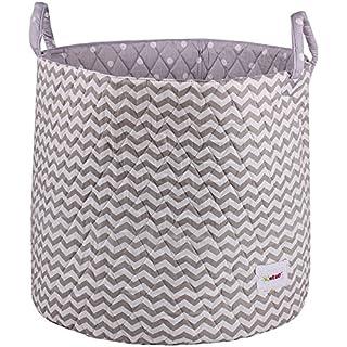 Minene Large Storage Basket with Grey Chevron - star storage baskets, round storage baskets, large fabric storage basket - great for toy storage, kids storage and as a laundry hamper