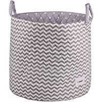 Minene Large Storage Basket with Grey Chevron - star storage baskets, round storage baskets, large fabric storage basket - great for toy storage, kids storage and as a laundry hamper preiswert