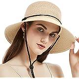 Geschallino Mujeres Sombrero de Paja de ala Ancha Ligero Plegable para Mujer para Verano UV UPF50 +