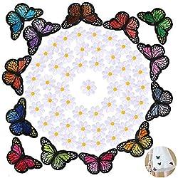 60pcs Parches Bordados Apliques Pegatinas Ropa Termoadhesivos Infantiles Flores Mariposas Decoración Costura Ropa Jeans Chaquetas Vaqueros Vestidos