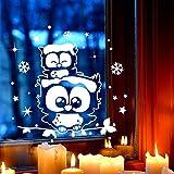 Fensterbild Eulen Eulchen auf Zweig Fensterbilder Fensterdeko 22 x 21cm + Schneeflocken Sterne und Punkte selbstklebend für Kinder M2251 ilka parey wandtattoo-welt®