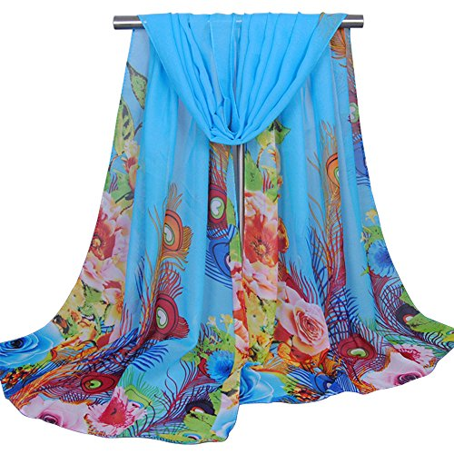 GGG Women 154x48cm Sun Scarf Peacock Feather Pattern Colorful Comfortable Chic Flowers Sunscreen Scarves