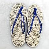 @Sandals Pantoufles Portables pour Hommes Et Femmes, Pailles Faites À La Main, Pantoufles Maison, Chaussures De Loisirs, Antiquités, 35, Bleu Marine...