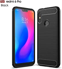 "Original Premium REDMI 6 PRO Back Case – WOW Imagine Rugged Armour Shock Proof ""Brushed Carbon Fibre Texture"" [Anti Shock Corners with Air Cushion Technology] Impact Resistant Slim Profile TPU Phone Back Case Cover For XIAOMI REDMI 6 PRO - Carbon Black"