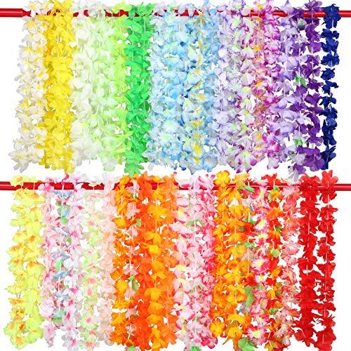 Gwhole 50 Colliers Hawaien Fleurs Hawaïenne Guirlande Multicolore Tropical Décoration Plage Mariage Anniversaire Pique-Nique Fête Anniversaire Baptême 90cm-100cm/Pièce