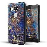 Nexus 5x Funda,Lizimandu 3D Patrón Protectiva Carcasa de Silicona Gel TPU estrecha Case Cover Para nexus 5x(Flor Azul/Blue Flower)