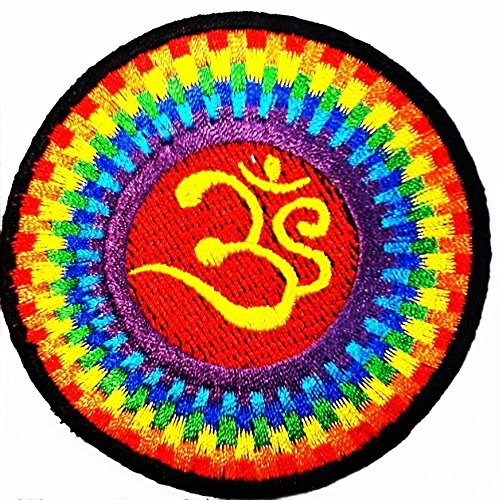 Aum Om Ohm Hindu Yoga Indian Lotus Lucky Sign Logo Hippie Retro Biker Jacke T-Shirt Weste Aufnäher Aufbügler Aufbügler