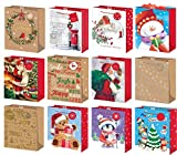 Set of 12 Large Christmas Gift Bags with Rope Handle & Tag Mixed Designs