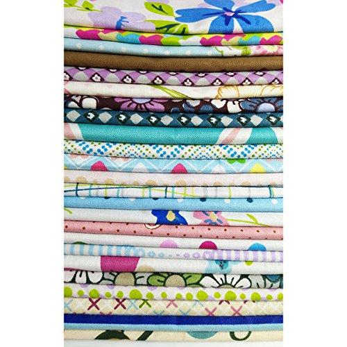 50Pcs Baumwollstoff Patchwork Stoffe DIY Gewebe Quadrate Baumwolltuch Stoffpaket zum Nähen mit vielfältigem Muster 25x25cm