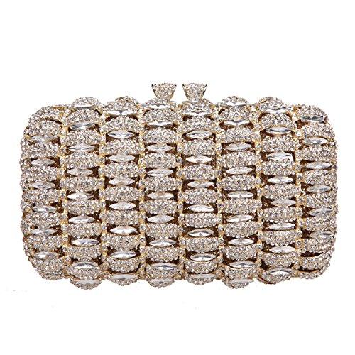 Bonjanvye Kiss Lock Studded Clutch with Crystal Rhinestone Evening Bag Gold