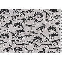 Jersey tela–costura y ropa infantil tela–95% algodón 5% elastano–por 0,5m 50cm x 150cm (swaj33dinosaurios gris)