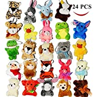 """JOYIN Toy 24 Pack of Mini Animal Plush Toy Assortment (24 units 3""""/7.6cm each) Party Bag Fillers for Kids"""