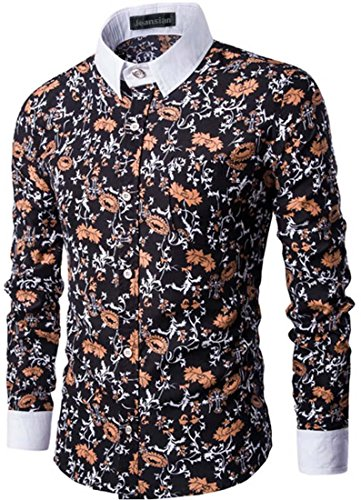 Jeansian Hommes Mode Chemises Casual Impression Florale Manches Longues Men's Leisure Floral Printing Long Sleeves Slim Dress Shirts Tops 84L8 Black