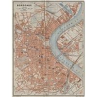 Gironde carte BORDEAUX antique town city plan de la ville BAEDEKER 1914 map