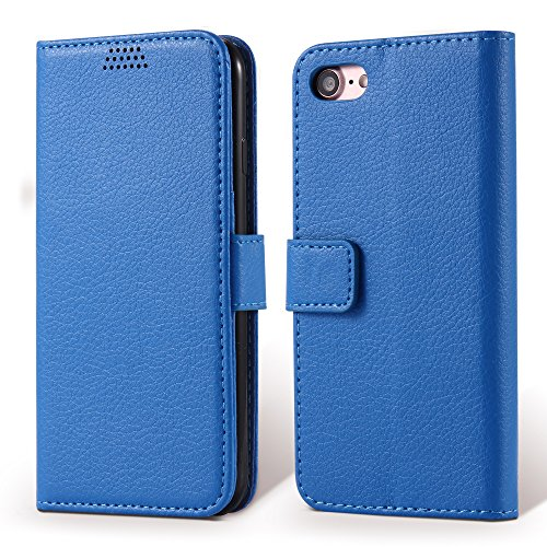 Coque iPhone 7 , Aomo iPhone 7 Coque Housse en cuir Cover [Flip Case][Fente pour carte][ Porte-monnaie style] PU Protection en cuir Cas de téléphone pour iPhone 7 - Violet Bleu