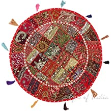 """EYES OF INDIA - 32"""" RED DECORATIVE PATCHWORK FLOOR PILLOW CUSHION COVER Indian Bohemian Decor"""
