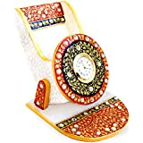 Handicrafts Paradise Marble Mobile Holder with Clock (9.5 cm x 10.9 cm x 10.2 cm),Multicolour