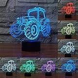 3D Optical Illusion Lampe LED Nachtlichter,KINGCOO Verstellbar 7 Farben LED Schreibtischlampen Acryl Licht Berührungsschalter Stereo Visual Atmosphäre Tischlampe,Geschenk für Weihnachten (Traktor)