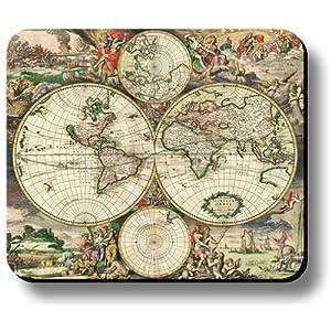 Decorativo alfombrilla de ratón arte impresión Vintage mapa del mundo