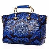 WanJiaMen'Shop Goffrati Borsetta Borsetta fashion goffrato maniglia di ferro borsa tracolla singola confezione, blu scuro