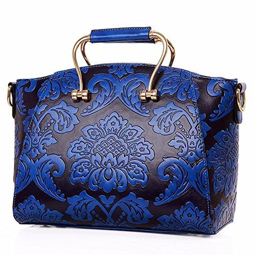 Geprägte Schulter Tasche (Geprägte Handtasche Handtasche Mode geprägte Bügeleisen griff Tasche single Schulter Paket, Dunkelblau)