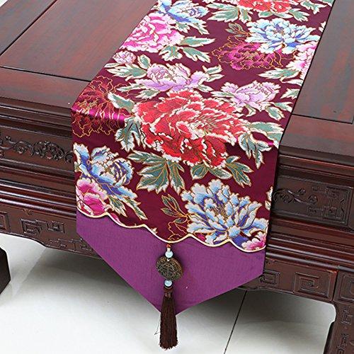 Einfache pastorale Tabelle Tischläufer und Damast Tischdecke Tischdecken Tischdecke decke Bett Renner Tischdecke decke Damast Tischdecke-F 33x230cm(13x91inch) (Damast-beige-bett-decke)