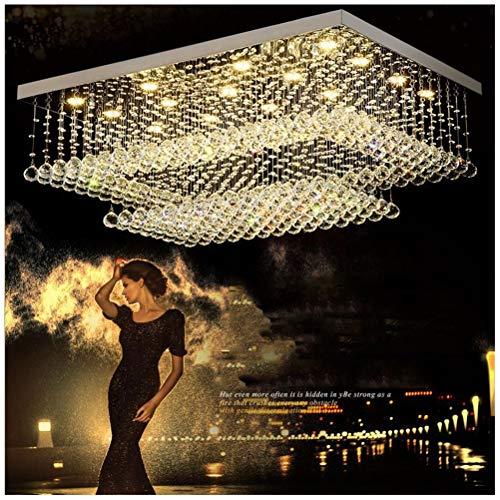 H.Q Dimmbare LED Pendelleuchte Rechteckige Wohnzimmer Kristall Kronleuchter Moderne Restaurant Deckenbeleuchtung Dekoration Hängelampe Leuchte (Size : 95 * 70CM) - Moderne Rechteckige Kronleuchter