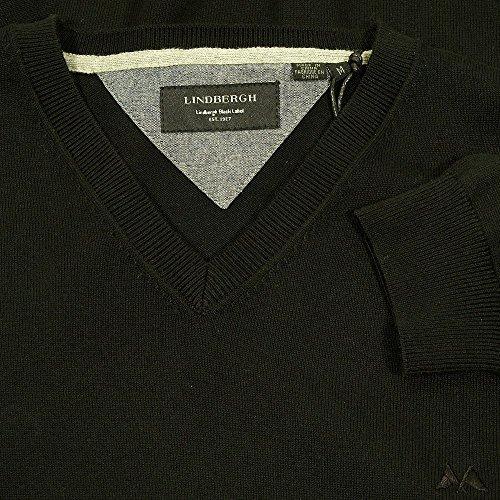 Lindbergh - Elementar V-ausschnitt Baumwolle Stricken, Schwarz Schwarz - Schwarz