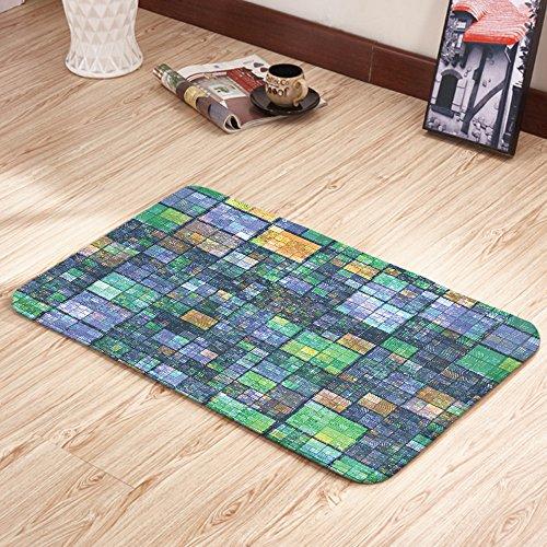 Moslion Doormats Modern Mosaic Geometric Design Blue Yellow Green Rectangular Doormat Decorative Indoor/Outdoor Cover Rug 15.7 X 23.6 Inch