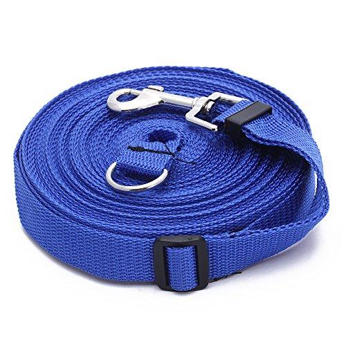 leine/ FitTek, Facilla® - Guinzaglio per cani, con gancio in acciaio inossidabile, lunghezza: 15 m, colore: azzurro