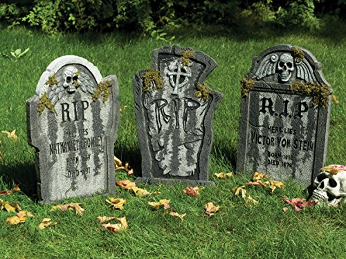 3er Sammler Set Grabsteine Halloween Deluxe Party Deko Schocker je 0,55 Meter groß wunderschöne große Friedhofsdeko im Granit Look mit Moos Effekt alle 3 Steine Mega Grusel Paket für grandiose (Set Deluxe Grabstein)