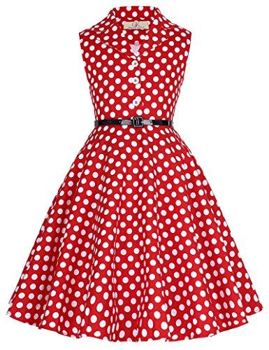 Retro Hepburn Stil Polka Dots Kleid Partykleid 7-8 Jahre CL9000-3 ()