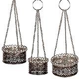 albena shop 73-113 Senja orientalisches Hängewindlicht Metall/Glas Silber (3er-Set: Gr.1+Gr.2+Gr.3)