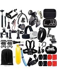 FUNNYKIT 46 en 1 Kit de Accesorios para cámara Gopro. Ideal para actividades de Camping, Buceo y Ciclismo