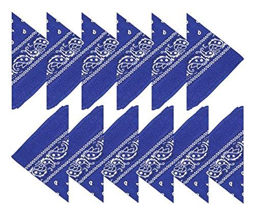 Boolavard 100% Baumwolle, 1er 6er, oder 12er Pack Bandanas mit original Paisley Muster | Farbe nach Wahl Headwear/Haar Schal Ansatz Handgelenk Verpackungs Band Kopf Bindung (12er Königsblau)