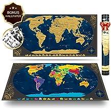 Pootack Mapa mural para rascar del Mundo 840*420mm - Rascar Island, país, las ciudades que visitó - Perfecto para los viajeros/exploradores/coleccionistas, etc - Con pegatinas + herramienta de rayado