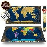 Pootack Mapa mural para rascar del Mundo 840*420mm - Rascar Island, país, las ciudades que visitó...