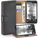 moex HTC One M7   Hülle Dunkel-Grau mit Karten-Fach 360° Book Klapp-Hülle Handytasche Kunst-Leder Handyhülle für HTC One M7 Case Flip Cover Schutzhülle Tasche