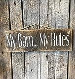 qidushop My Barn My Rules Pallet Horse Plaque d'écurie Vache Ferme Ranch Décor Rustique Porche de terrasse Porte d'entrée à Suspendre Maison en Bois Décoration Murale