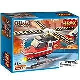 Cogo City Jungen Blocks Fire Fighter Fire Hubschrauber mit Feuerwehr Puppe Bausteinen für Jungen Toys Play Set kompatibel mit Lego 81PCS 3904C