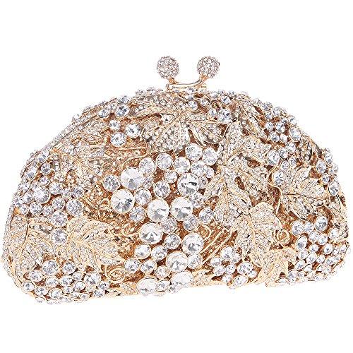 Bonjanvye Glitter Studded Grape Shape Clutch Purses Bags for Ladies Daily Dressing Multicolor gold