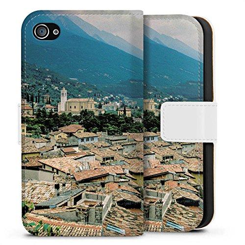 Apple iPhone X Silikon Hülle Case Schutzhülle Dächer Stadtpanorama Häuser Sideflip Tasche weiß