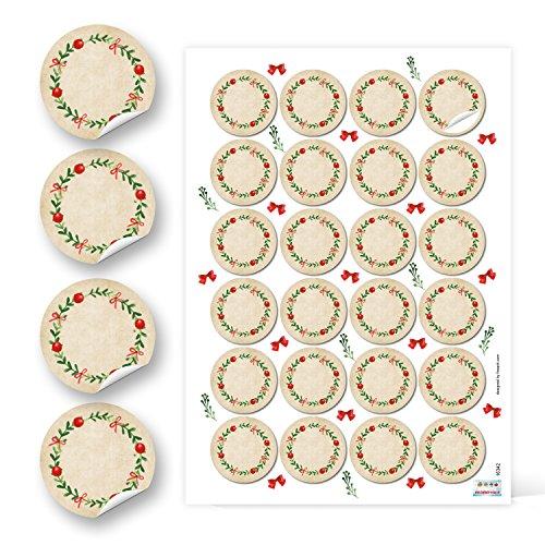 48 runde Kraftpapier ROT GRÜN blanko natur KRANZ Etiketten vintage Weihnachten 4 cm Geschenk-Aufkleber Sticker weihnachtlich Gewürzetiketten Gläser Marmeladen