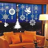 UNIQUEBELLA Fensterbild Fenstersticker Fensterdeko Wanddeko Weihnachten Advent Sticker Schneeflocke Eiskristalle