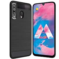 Bracevor Back Cover Case for Samsung Galaxy M30 Carbon Fiber Textured Flexible Shockproof TPU Rugged Armor Case - Black