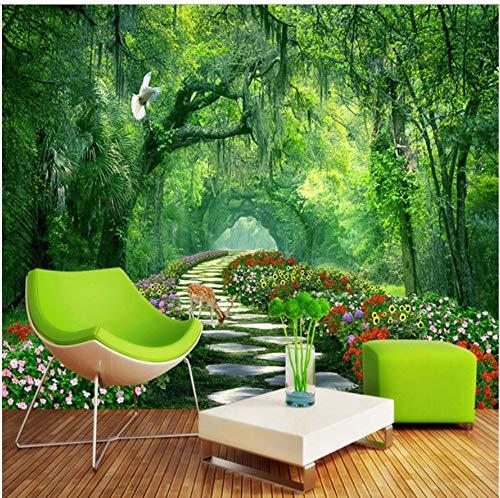 Wand Tapeten 3D Spatial Extension Persönlichkeit Wandbild Tapete Hd Grüner Wald Hirtenpfad 3D Stereo Tapete Wohnzimmer Papel De Parede