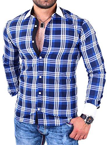 Reslad RS-7212 Chemise à carreaux pour homme, manches longues Bleu - Bleu