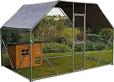 FeelGoodUK Galvanised Chicken Cage, 2mx 3m x 2m Roof Cover Included by FeelGoodUK